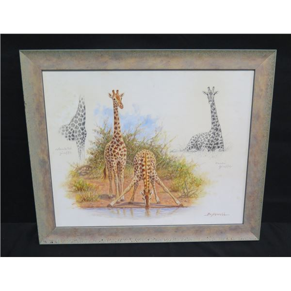 """Framed Canvas Board: 'Giraffe Study' Signed by Bo Newell 23""""x20"""" (Retail $2,900)"""