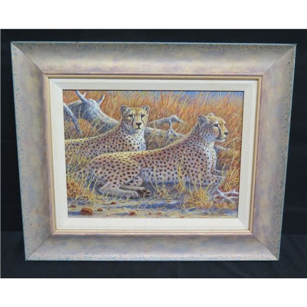 """Framed Canvas: Leopard 'Partnership"""" Signed by Bo Newell 23""""x20"""" (Retail $3,300)"""