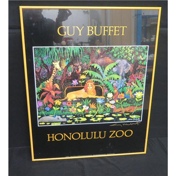 "Framed Guy Buffet Honolulu Zoo Poster, Signed 23""x30"""