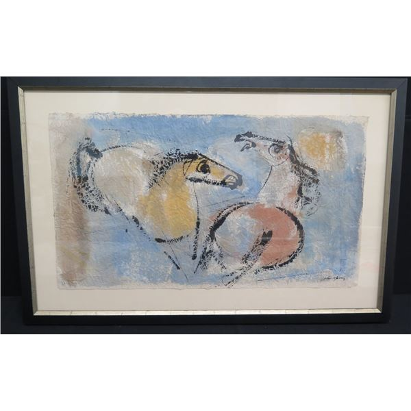 "Framed John Young Original Watercolor, Two Horses 45""x30"""