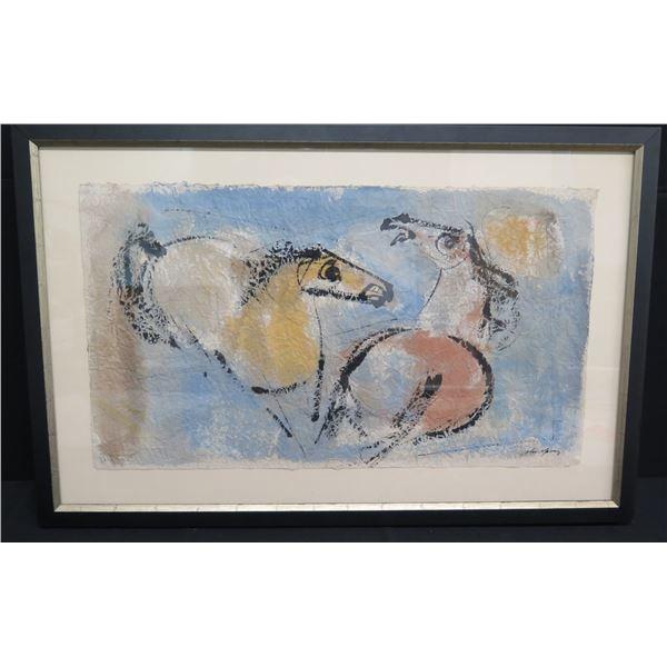 "Framed John Young Original Watercolor, Two Horses 45""x30"""