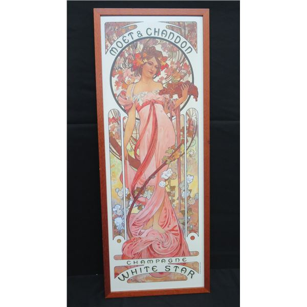 """Tall Framed Ad Poster 15""""x41"""" Moet & Chandon Champagne White Star Mucha Trust 2005"""