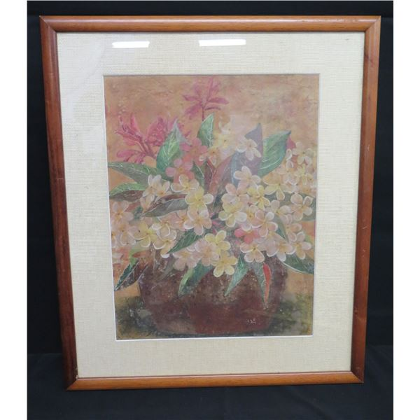 "Framed Art: Plumeria Flowers, Signed Henrietta 21""x26"""