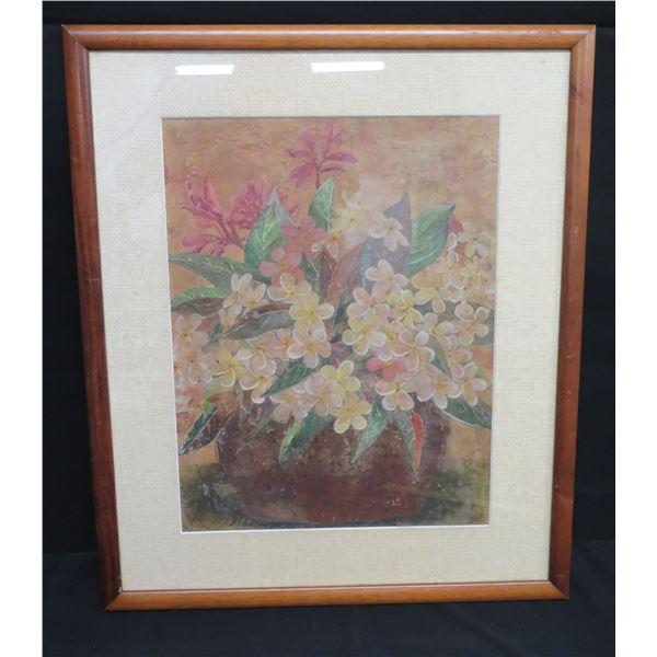 "Framed Painted Layered Art: Plumeria Flowers, Signed Henrietta 21""x26"""
