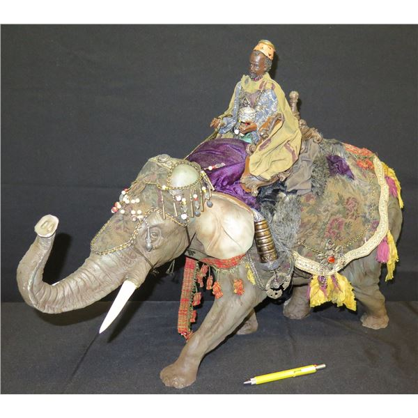 "Man On Jeweled Elephant, Large 36""x21""H"