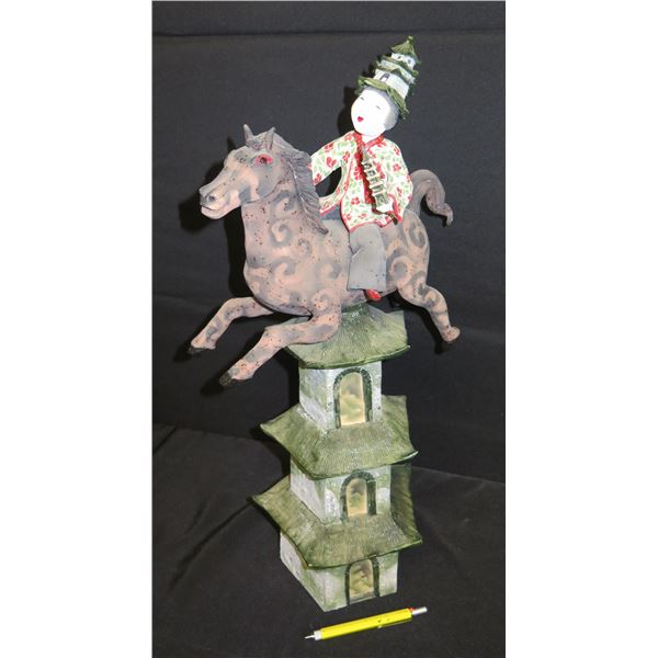 "Painted Female Figure on Horse and Pagoda, Signed Vicky Chock 21""H"