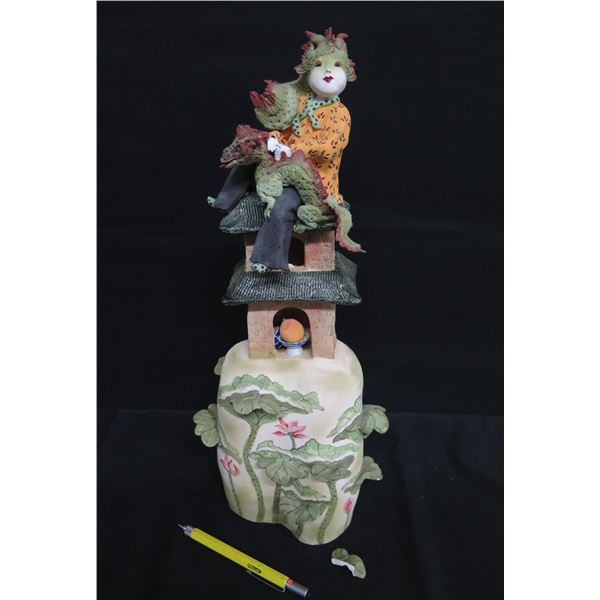 """Painted Female On Dragon and Temple, Signed Vicky Chock 17""""H"""