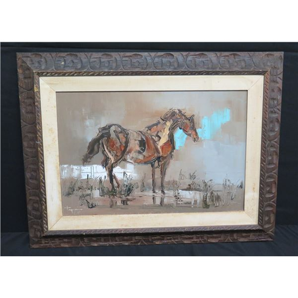 """Framed Original Painting 'The Chestnut Mare' 33""""x26"""" Signed, H. Tagami 1967"""