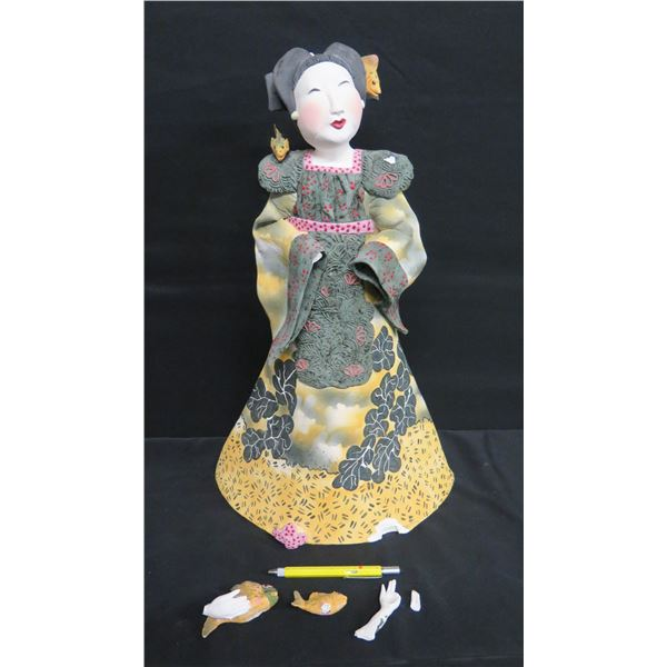 """Painted Female with Fish, Signed Vicky Chock 22""""H"""