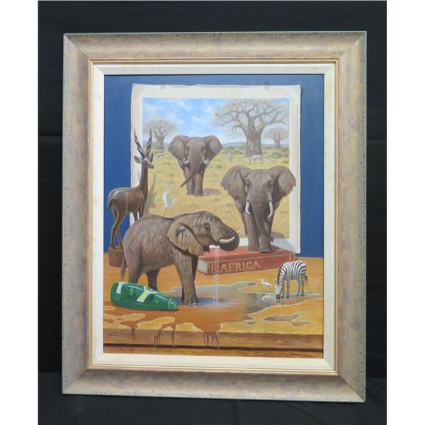 """Framed Original Art: 'Party Time' by Bo Newell 29""""x36"""" (Retail $6200)"""