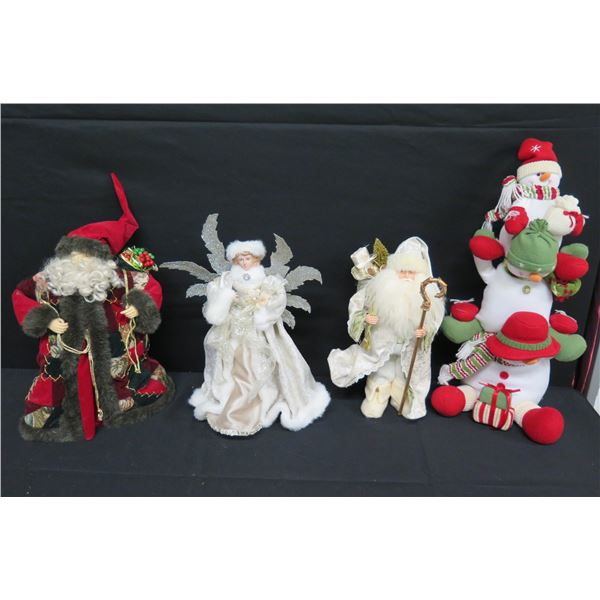 "Misc Christmas Ornaments: 2 Santas, Angel & Snowmen 18"" to 26""H"