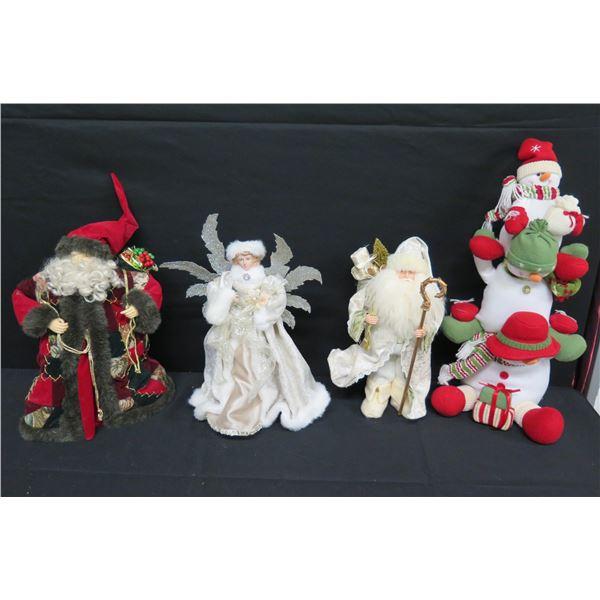 "Misc Christmas Ornaments: 2 Santas, Angel & Snowmen 18"" to 26""H"