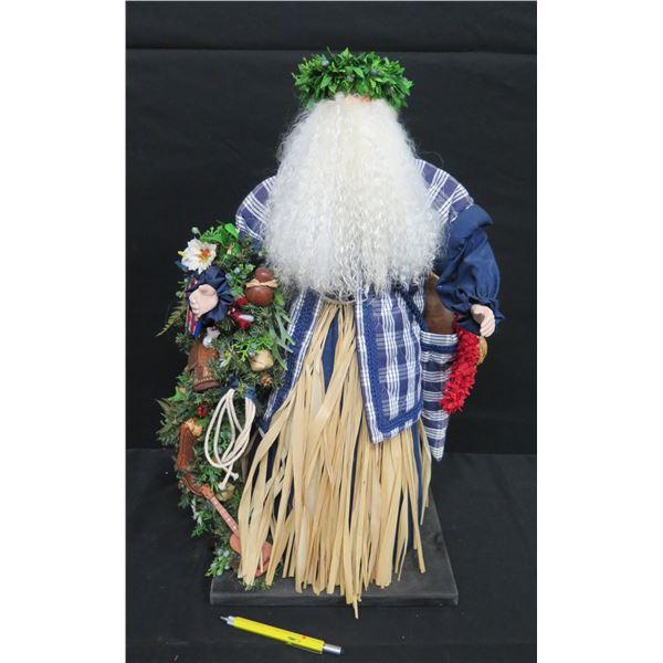 """Tall 'Over the Koolaus' by Ione Adams 26"""" Hawaiian Santa in Palaka Shirt & Haku Lei"""