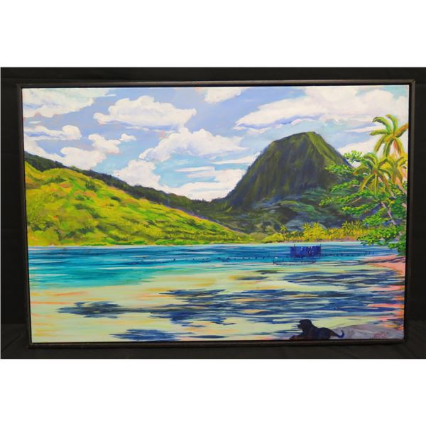 "Large Framed Acrylic on Canvas, Mountain/Ocean, 36""x25"" Signed Sophie Teururai 2014 Maua Tapu"