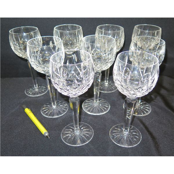 "Qty 9 Waterford Crystal Stemmed Beverage Glasses 7.5""H"