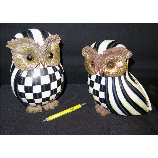 "Qty 2 Mackenzie Childs Country Cheek Owls 10""H (Retail $78 each)"