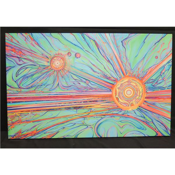 """Large 38""""x25"""" Unframed Blaise Domino Giclee on Stretched Canvas, Abstract Sun"""