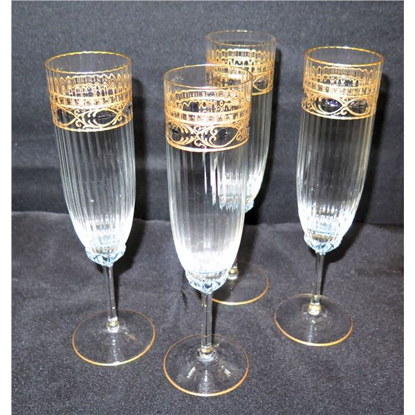 """Qty 4 Champagne Flutes w/ Gold-Tone Accents 10""""H"""