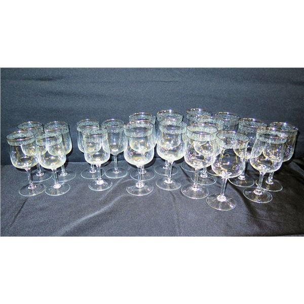 "Qty 18 Etched Lenox Stemmed Beverage Glasses w/ Accented Rim 6""-7""H"