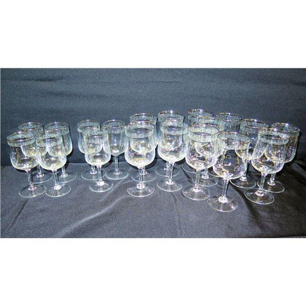"Qty 18 Etched Lenox Stemmed Beverage Glasses w/ Accented Rim 6""-7""H"