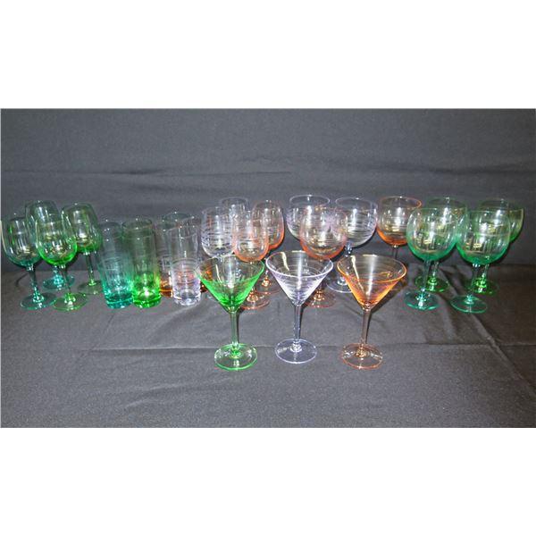 Multi-Colored Beverage Glassed