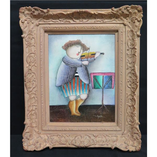 "Framed Original Painting, Violinist, Signed by Artist J. Roy Baz 20""x25"""