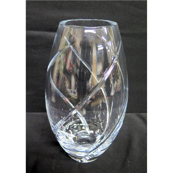 "Glass Taperd Vase w/ Grooved Ribbon Pattern 3.5"" Top Dia, 13"" Tall"