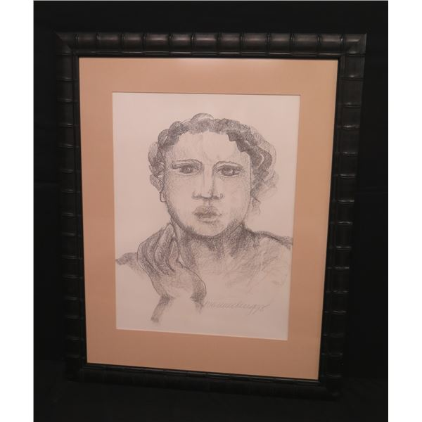 "Large Framed  Original Pastel Sketch of Woman, 33""x43"" Signed Yvonne Cheng 98 (Retail $300)"