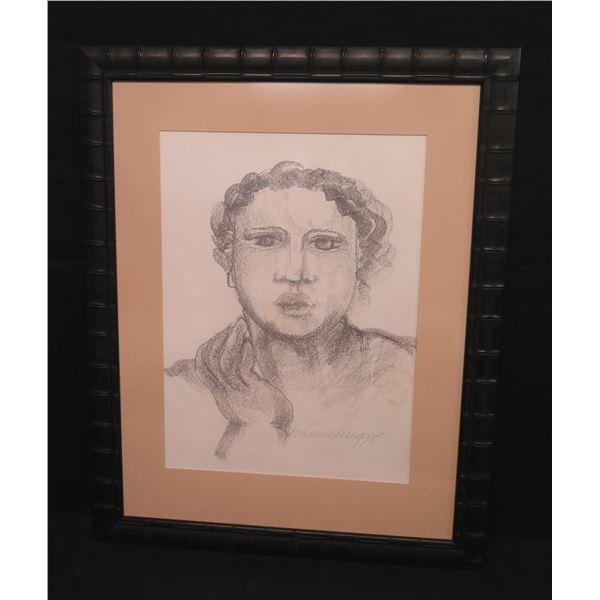 "Large Framed  Original Pastel Sketch of Woman, 33""x43"" Signed Yvonne Cheng 98"