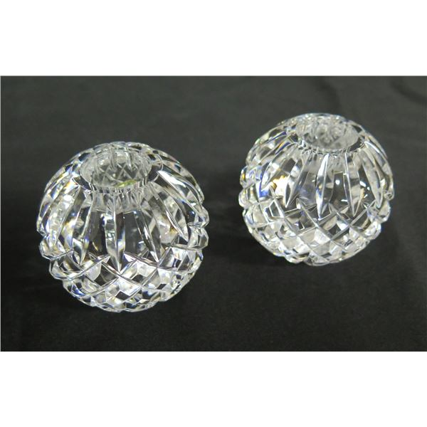 """Qty 2 Round Waterford Crystal Ireland Candleholders 2.5"""" Dia."""