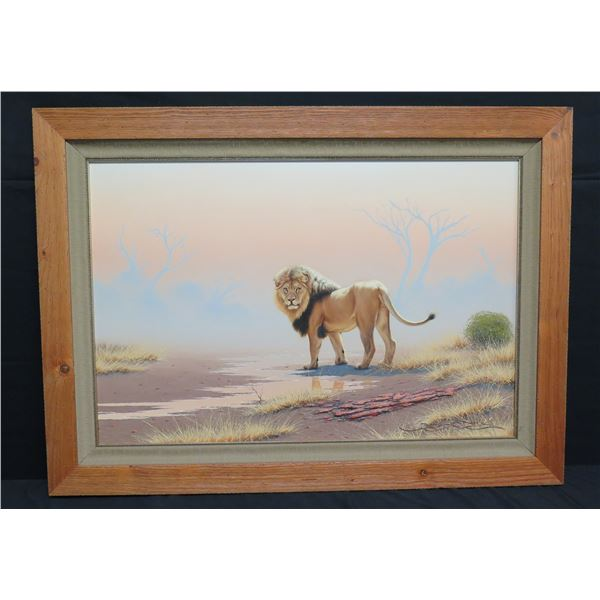 "Large Framed Original Painting, Lion, Signed Brian Scott Dawkins 42""x31"""