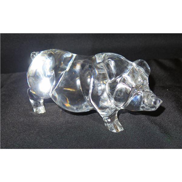 "Daum Glass Pig 8""L, 5""H"