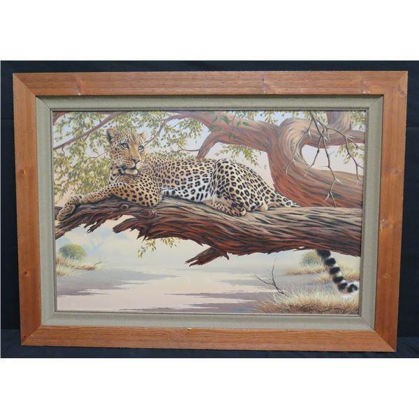 "Large Framed Original Painting, Leopard, Signed Brian Scott Dawkins  42""x31"""