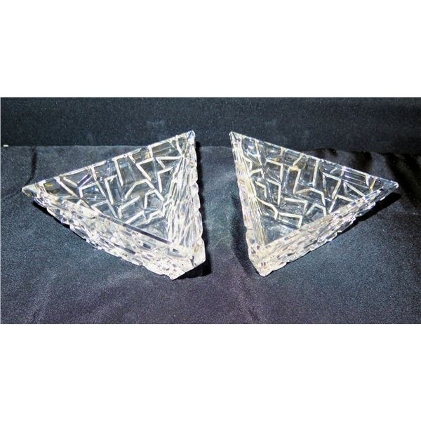 """Qty 2 Tiffany & Co. Glass Triangle Dishes 7"""""""