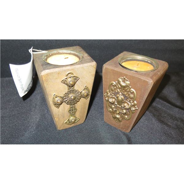 """Qty 2 Neiman Marcus 'Heaven Sent Angels' Candleholders w/Candles (Retail $80 each) 5""""H"""