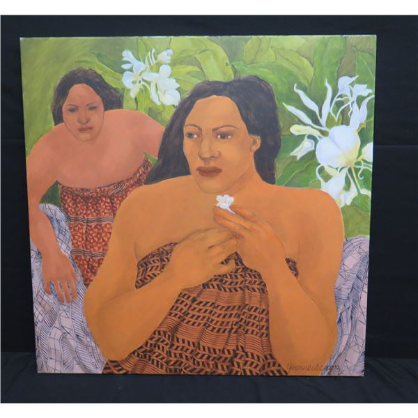 """Large Original Painting on Canvas, Polynesian Women, Signed Yvonne Cheng 36""""x36"""""""