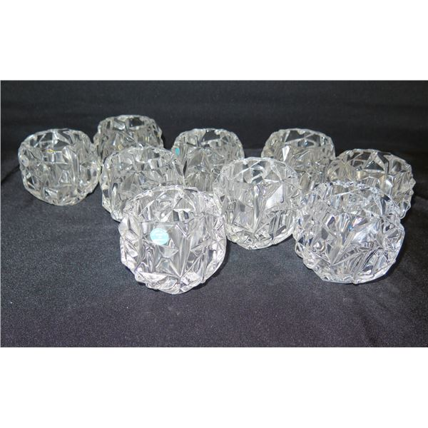 """Qty 9 Tiffany & Co. Germany Round Faceted Votive Candleholders 3"""" Dia"""