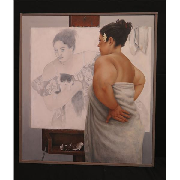 """Large Framed Oil Painting 'The Critique' Woman in Mirror by Campbell 08 38""""x42"""""""