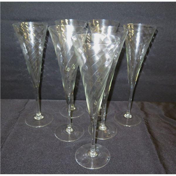 """Qty 7 Swirled Glass Champagne Flutes 11""""H"""