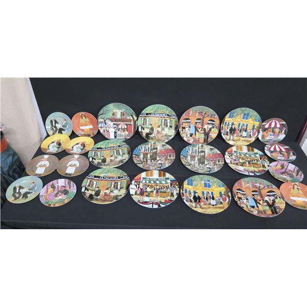 "Qty 24 GBC Guy Buffet Collection Decorative Plates 8""Dia & 10""Dia"