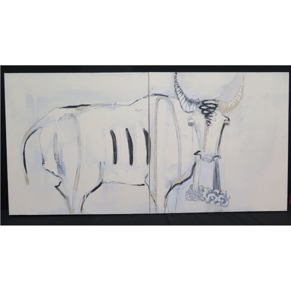 """Large Original Painting on Canvas 60""""x30""""Diptych, 'Bull of Eye' 2005 Signed Endicott"""