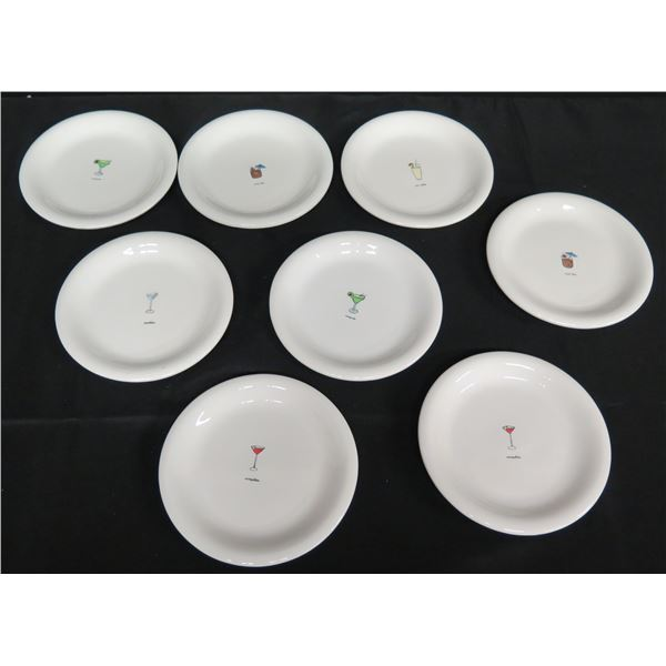 "Qty 8 Jsenware Round Plates w/ Cocktail Motif 6.5"" Dia."