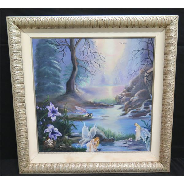"""Large Framed Original Painting on Canvas 30""""x31"""" Woodland Fairies, Signed by Artist S. Guggenheim?"""