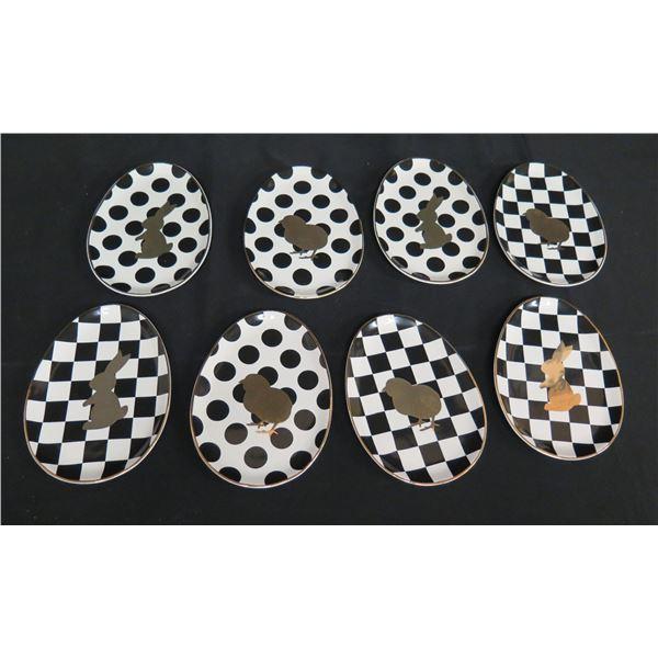"Qty 8 Mackenzie Childs Egg-Shaped Plates w/ Chicks & Bunnies 8""x6"""