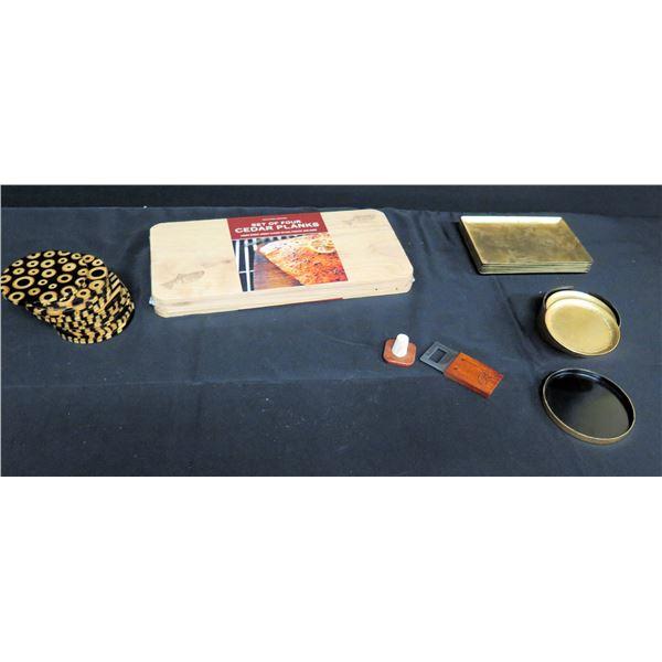 Gold Tone Trays & Coasters, 4 New Cedar Planks