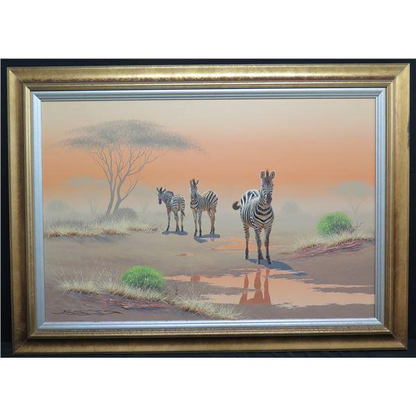 "Large Framed Original Painting, Zebra, Signed Brian Scott Dawkins  56""x40"""