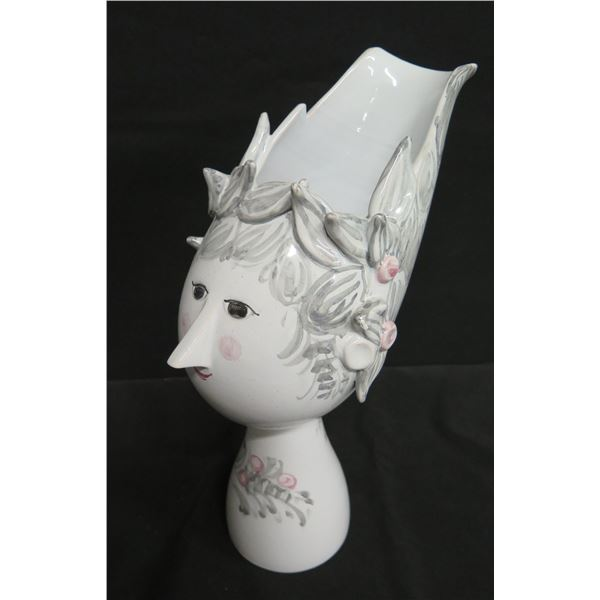 "Glazed Porcelian Lady Figurine Vase, Signed U.20 '97 Danmark 13"" Tall"