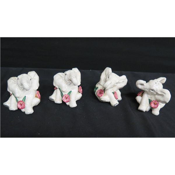 Qty 4 Seated Elephants Shakers, FF Fitz & Floyd Korea 1992