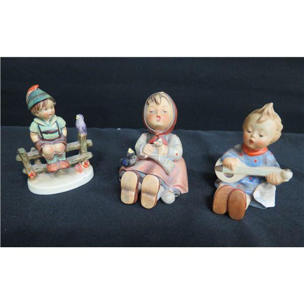 """Qty 3 Goebel W. Germany Figurines: 2 Boys & Singing Girl 4""""H"""