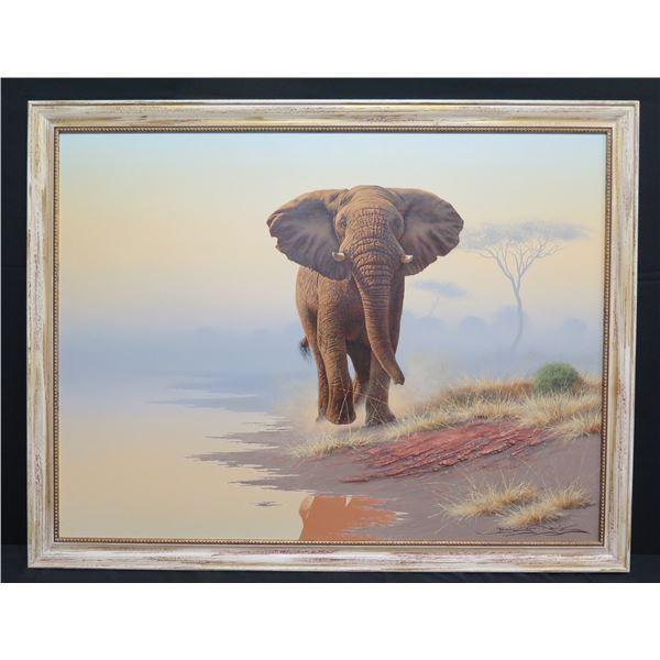 "Large Framed Original Painting, Elephant, Signed Brian Scott Dawkins 52""x40"""